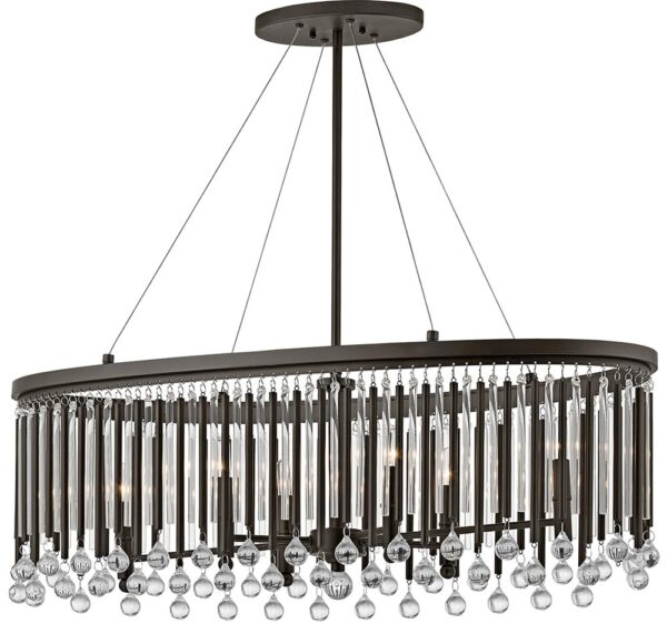 Kichler Piper Oval 6 Light Chandelier Pendant Espresso Glass Rods