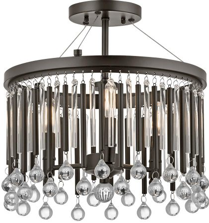 Kichler Piper 3 Light Semi Flush Mount Ceiling Light Espresso Glass Rods