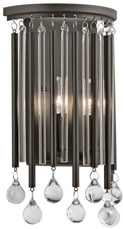 Kichler Piper 2 Light Wall Lamp Fitting Espresso Glass Rods