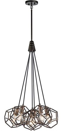 Kichler Rocklyn 6 Light Pendant Cluster Vintage Industrial Style Raw Steel