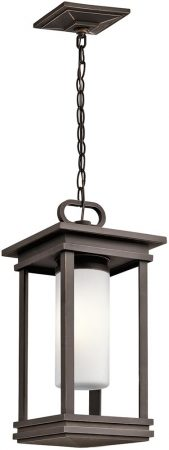 Kichler South Hope 1 Light Hanging Outdoor Porch Lantern Rubbed Bronze