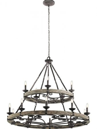 Kichler Taulbee 15 Light Large Cartwheel Chandelier Weathered Zinc