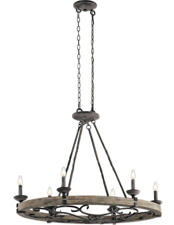 Kichler Taulbee 6 Light Oval Chandelier Weathered Zinc Wood