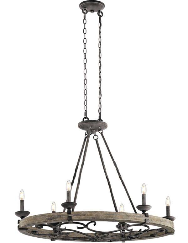 Kichler Taulbee 6 Light Oval Chandelier Weathered Zinc Wood