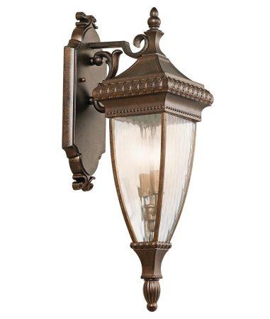 Kichler Venetian Rain 2 Lamp Medium Outdoor Wall Lantern Brushed Bronze