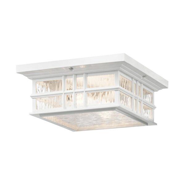 Kichler Beacon Square 2 Light Flush Porch Ceiling Lantern White IP44