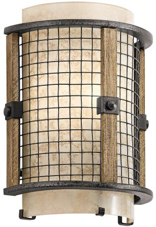 Kichler Ahrendale Anvil Iron Flush Rustic Wall Light With Mica Shade