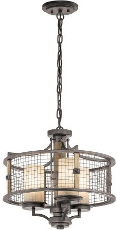Kichler Ahrendale Iron 3 Light Dual Mount Rustic Chandelier