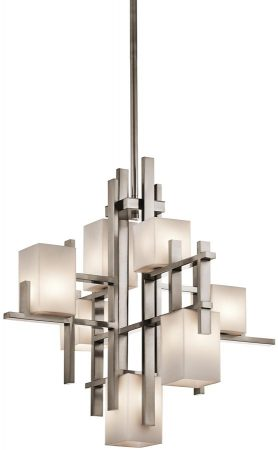 Kichler City Lights 7 Light Contemporary Cube Chandelier Classic Pewter