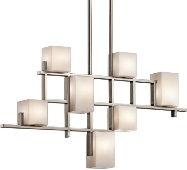 Kichler City Lights 7 Light Contemporary Linear Chandelier Classic Pewter