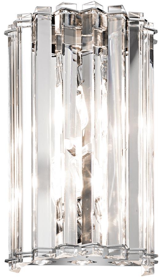 Kichler Crystal Skye 2 Lamp Designer Wall Light Polished Chrome IP44