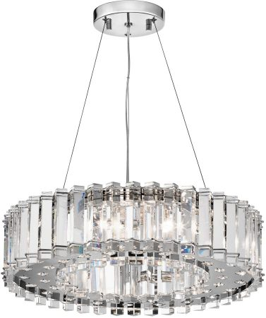 Kichler Crystal Skye Large 8 Light Chandelier Pendant Polished Chrome