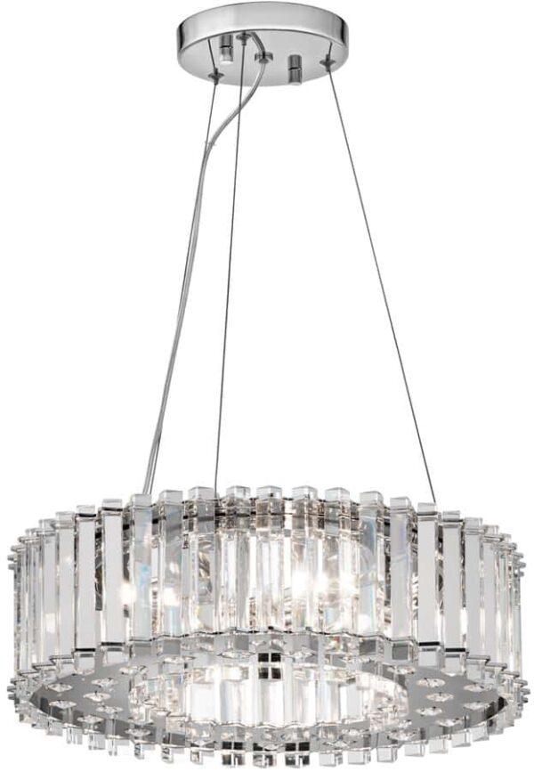 Kichler Crystal Skye 6 Light Pendant Chandelier Polished Chrome IP44