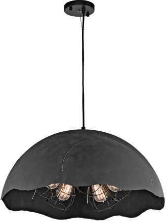 Kichler Fracture Weathered Zinc 5 Light Large Industrial Pendant