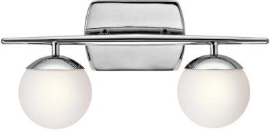 Kichler Jasper Polished Chrome 2 Light Bathroom Wall Light Opal Globes