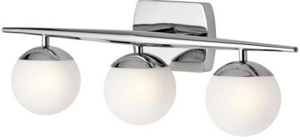 Kichler Jasper Polished Chrome 3 Light Bathroom Wall Light Opal Globes