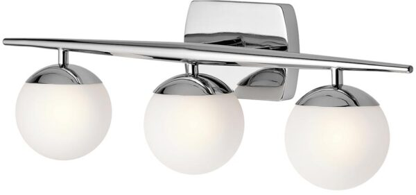 Kichler Jasper Polished Chrome 3 Light Bathroom Wall Light Opal Globes
