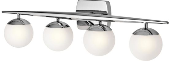 Kichler Jasper Polished Chrome 4 Light Bathroom Wall Light Opal Globes