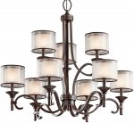 Kichler Lacey Large 9 Light Chandelier Mission Bronze Organza Fabric