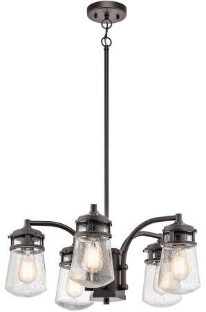 Kichler Lyndon 5 Light Outdoor Porch Chandelier Architectural Bronze