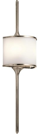 Kichler Mona Large 2 LED Bathroom Wall Light Classic Pewter Opal Glass
