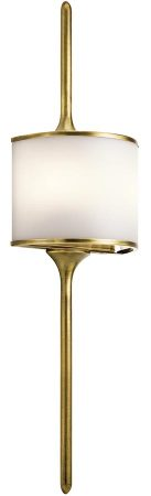 Kichler Mona Large 2 LED Bathroom Wall Light Natural Brass Opal Glass