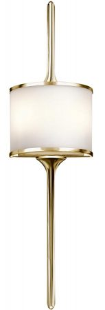 Kichler Mona Large 2 LED Bathroom Wall Light Polished Brass Opal Glass