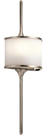 Kichler Mona Small 2 LED Bathroom Wall Light Classic Pewter Opal Glass