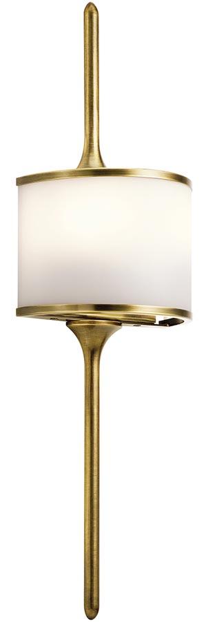 Kichler Mona Small 2 LED Bathroom Wall Light Natural Brass Opal Glass