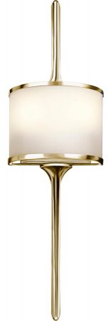 Kichler Mona Small 2 Light Wall Light Polished Brass Opal Glass IP44