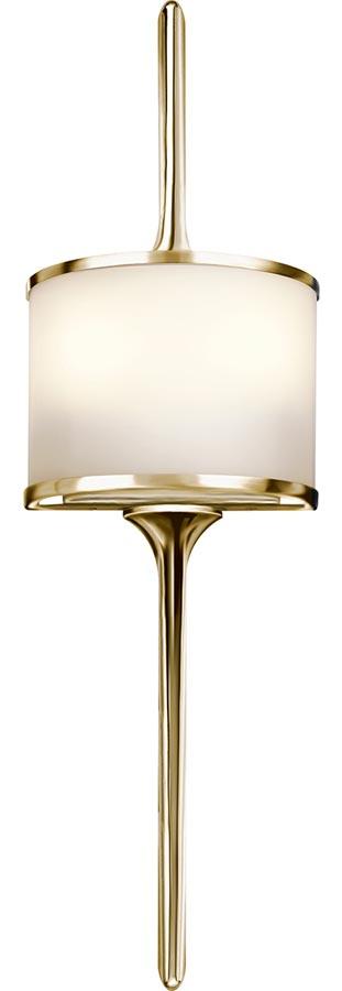 Kichler Mona Small 2 LED Bathroom Wall Light Polished Brass Opal Glass