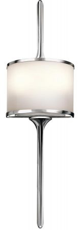 Kichler Mona Small 2 LED Bathroom Wall Light Polished Chrome Opal Glass