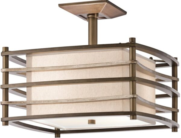 Kichler Moxie Retro 2 Light Semi Flush Fitting Cambridge Bronze