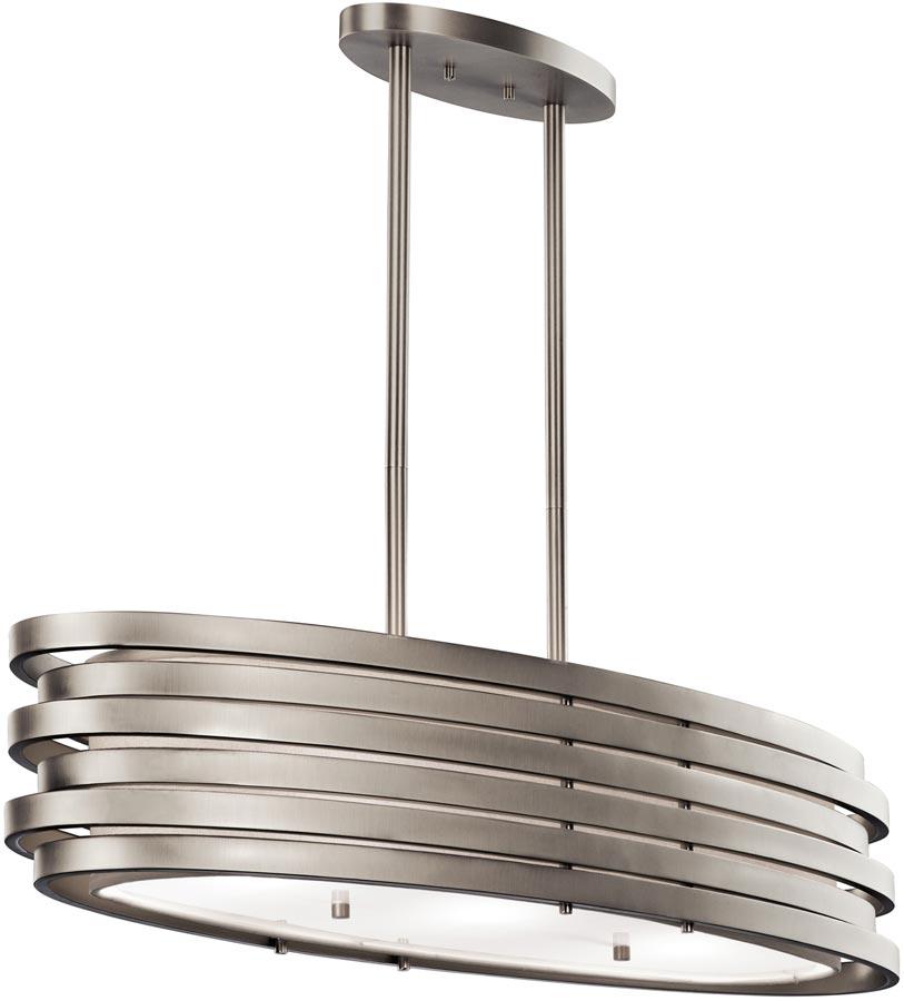 Brushed Nickel Pendant Lighting Kitchen: Kichler Roswell Large Oval 3 Light Island Pendant Brushed