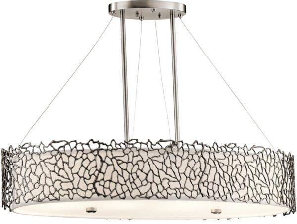 Kichler Silver Coral 4 Light Oval Island Pendant Classic Pewter