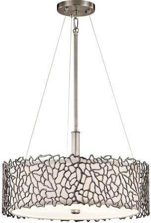 Kichler Silver Coral 3 Light Duo Mount Pendant Classic Pewter