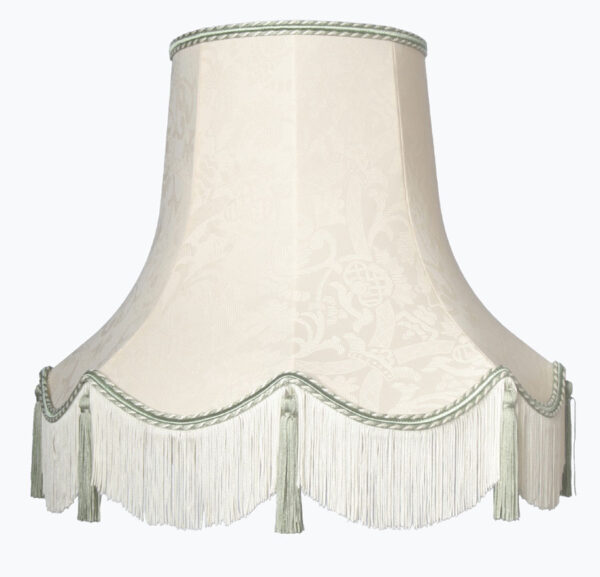 Handmade Quality Tassel Floor Lampshade Cream and Dark Green