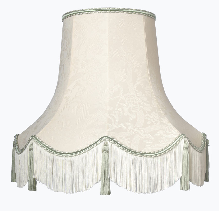 Handmade Quality Tassel Floor Lampshade Cream and Dark Green TL ...