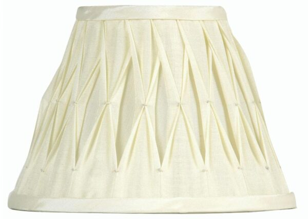 Pinch Pleated 12 inch Soft Ivory Faux Silk Lamp Shade