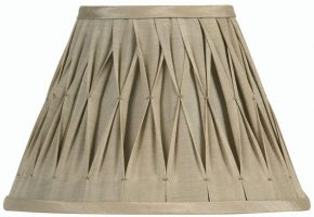 Pinch Pleated 10 inch Sand Faux Silk Lamp Shade