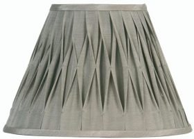 Pleated 5 Inch Silver Grey Faux Silk Clip On Lamp Shade