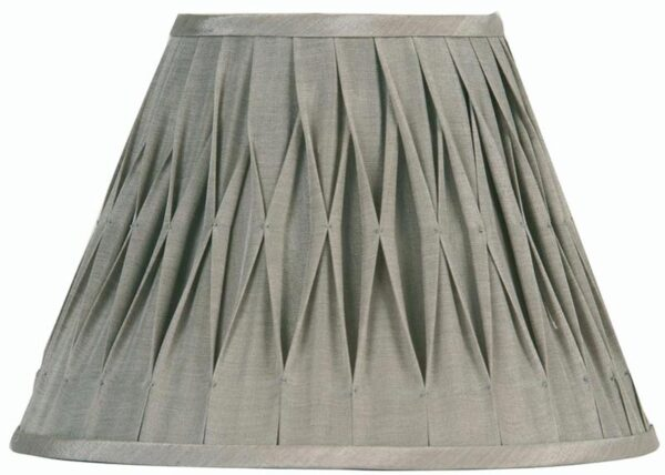 Pinch Pleated 12 inch Soft Grey Faux Silk Lamp Shade