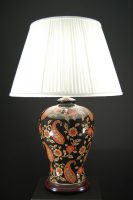 Oriental Red And Gold Paisley Ceramic Table Lamp Cream Shade