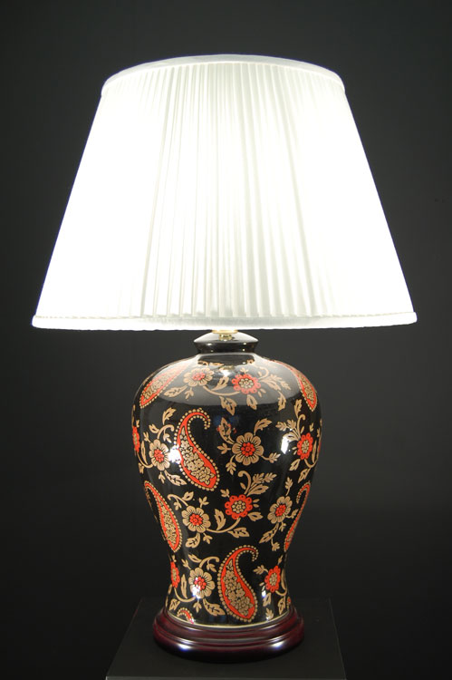 Oriental Red And Gold Paisley Ceramic Table Lamp Cream