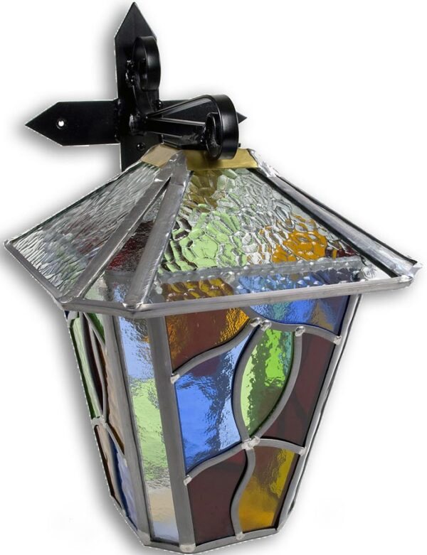 Chepstow Large Multi Coloured Leaded Glass Outdoor Wall Lantern