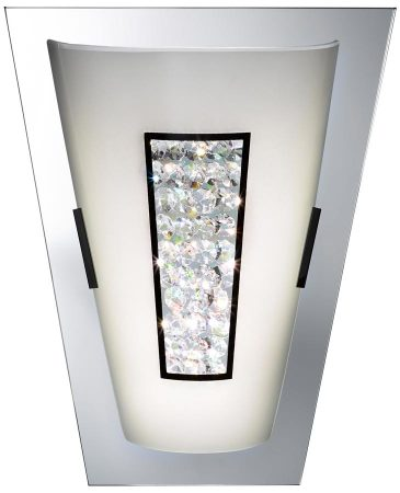 Polished Chrome 8w LED Wall Washer Light White Glass Crystal Inset