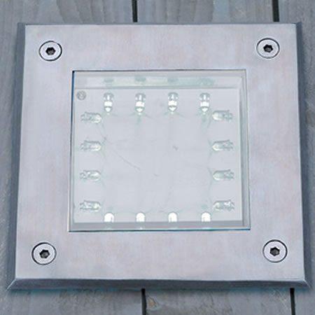 Square Stainless Steel White LED Deck Walkover Light