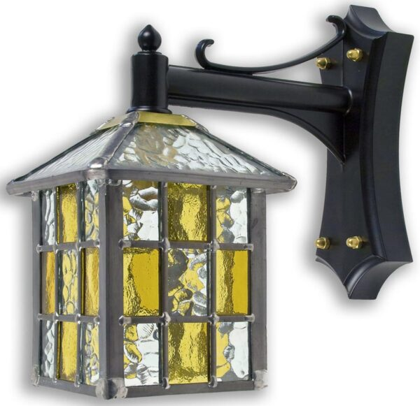 Ledbury Leaded Amber Stained Glass Mini Outdoor Wall Lantern