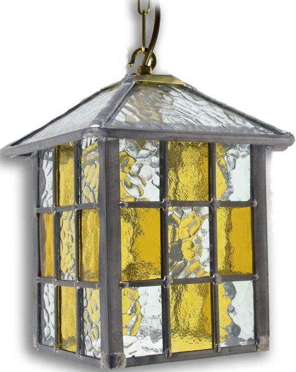 Ledbury Leaded Amber Stained Glass Hanging Outdoor Porch Lantern