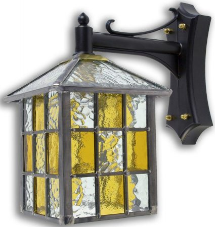 Ledbury Leaded Amber Stained Glass Square Outdoor Wall Lantern